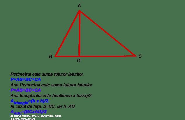 Perimetrul si aria Triunghiului